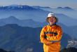 mountaineer portrait with beautiful mountain scenery.