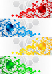 Vector set of banners with hexagon