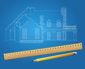 Drawing plan architectural background vector of house