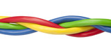Brightly coloured ethernet network cables twisted on white backg poster