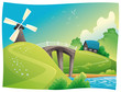 Countryside with windmill. Vector and cartoon landscape.