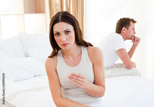 Worried couple finding out results of a pregnancy test