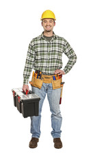 manual worker portrait with toolbox