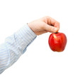 Red apple in a man's hand on a white background