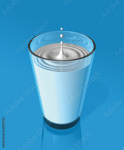 drop of milk and ripple in a milk glass - 20995532