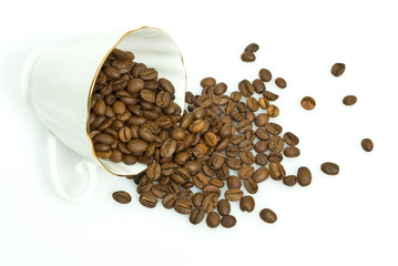 Cup and coffee grain