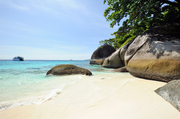 Thailand. Similan islands. Sand beach, calm blue sea