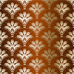 Brown seamless peacock sari pattern