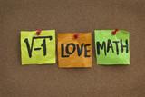 I love math - concept on bulletin board poster