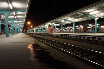 Czech Republic - train station in city Pardubice at night