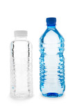 Dark blue and colorless bottles with water poster