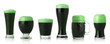 Different glasses of St. Patrick's Day green beer