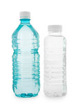 Turquoise and colorless transparent bottles with water poster