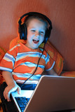 Young gamer with headphones full of expression poster