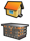 Two types of buildings, small hut and tenement, vector poster