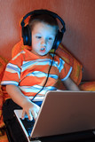 Young gamer with headphones poster