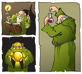 Three pictures of wizard, enchanting, casting spell, vector