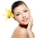 Fresh health  woman with a purity skin poster