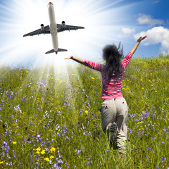 airplane and flower