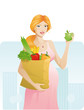 Beautiful pregnant woman with apple