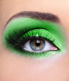 Make-up of woman eye with green eyeshadows poster