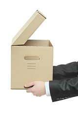 Man holding a paper box isolated on white background