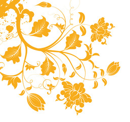 orange flower pattern silhouette