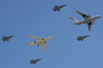 In-flight refueling imitation on the Victory Parade. Moscow.
