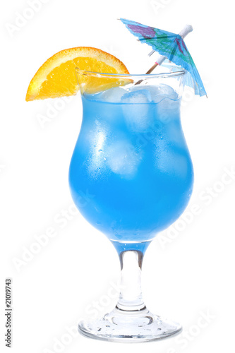 Orange curacao : Blue Curacao cocktail on white background.