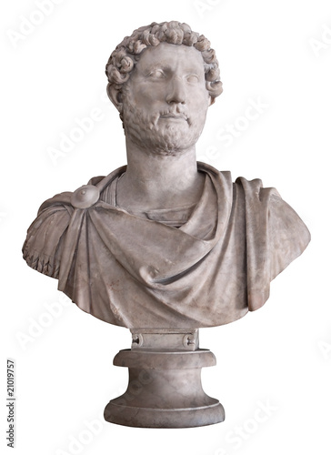 Ancient marble bust of the roman emperor Hadrian isolated on whi