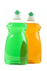Two Bottles with Dishwashing Liquid