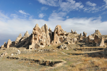 Turkey. Cappadocia. Rocky formations and cave town near Gereme