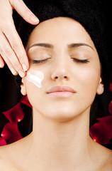 Female face cream care