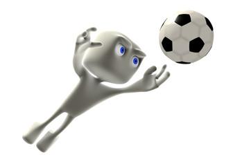 Joueur football gardien 3d