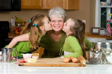 Grandma getting kisses