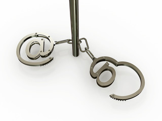 """Handcuffs with """"at"""" on white background. 3D"""