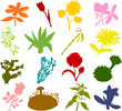 Set of flower icons  - silhouettes