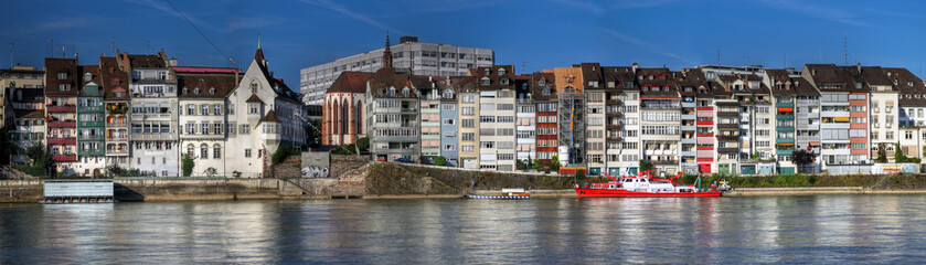 Rhine waterfront houses in Basel, Switzerland (panoramic)