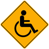 Disabled person warning sign poster
