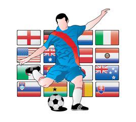jugador de futbol sobre las banderas del mundial