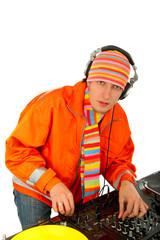 Portrait of smart deejay