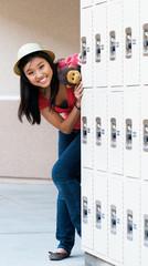 Teen Girl At School Lockers