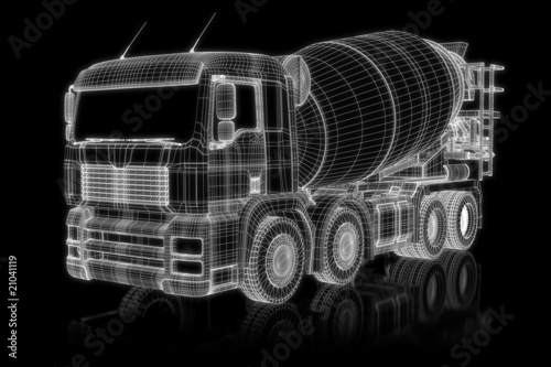 Concrete mixer - perspective 3d construction