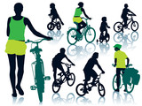Cycling people poster