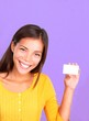Business card woman showing kind friendly smile