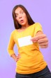 Surprised funny asian business card woman