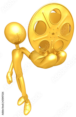 Gold Guy With Gold Film Reel