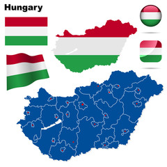 Hungary vector set. Shape, flags and icons.
