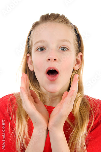 girl is looking surprised over white background