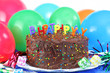 Happy Birthday Chocolate Cake and Balloons